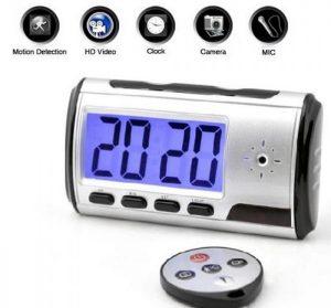 Hidden table clock camera with remote