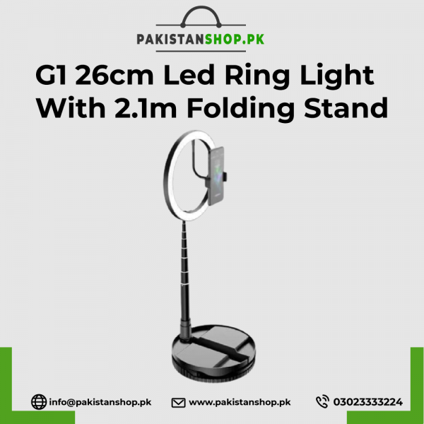 G1 26cm Led Ring Light With 2.1m Folding Stand